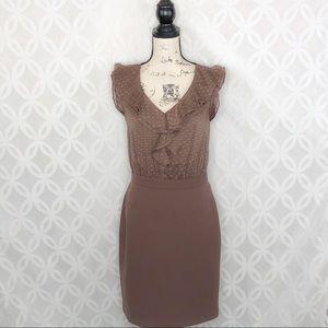 LOFT Dresses - Ann Taylor LOFT Taupe Ruffle Sheath Dress